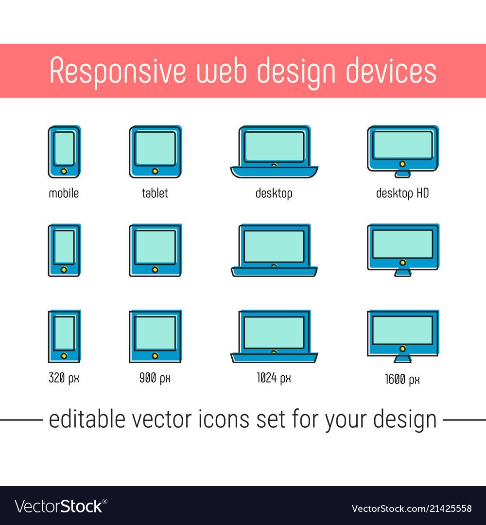 Responsive design icons flat