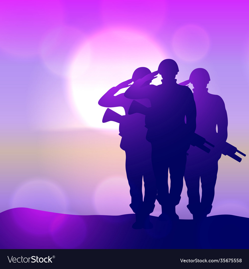 Silhouette a soldiers saluting against