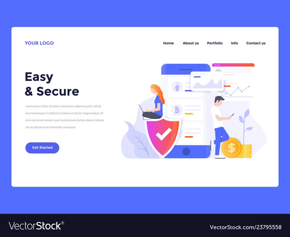 Web Design Flat Modern Template Easy Secure Vector Image