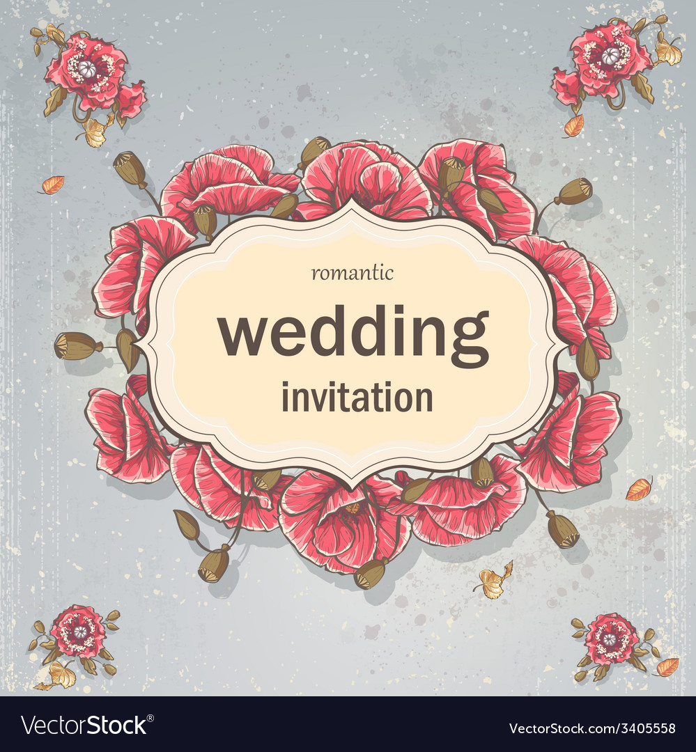Wedding invitation card for your text on a gray