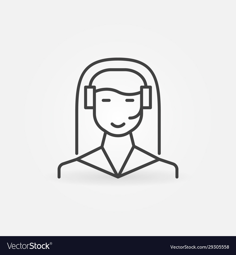Woman call center outline icon customer