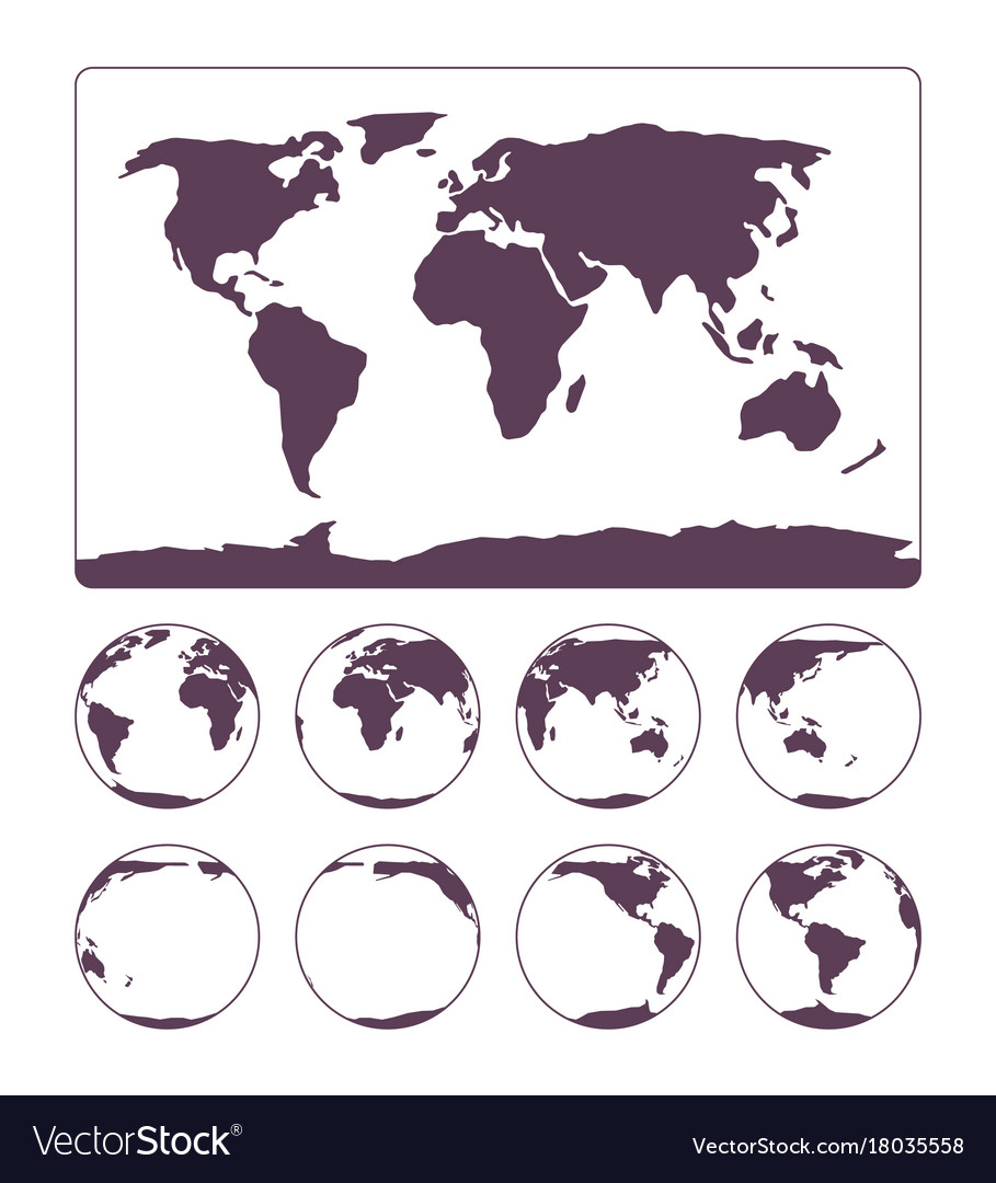 World map projection showing surface of the earth