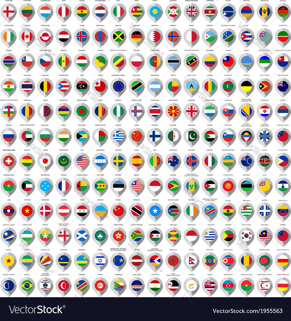 192 Markers from paper with flag for map vector image