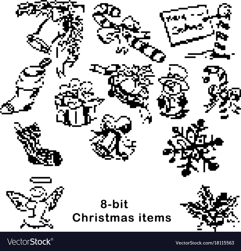 Black 8-bit christmas items