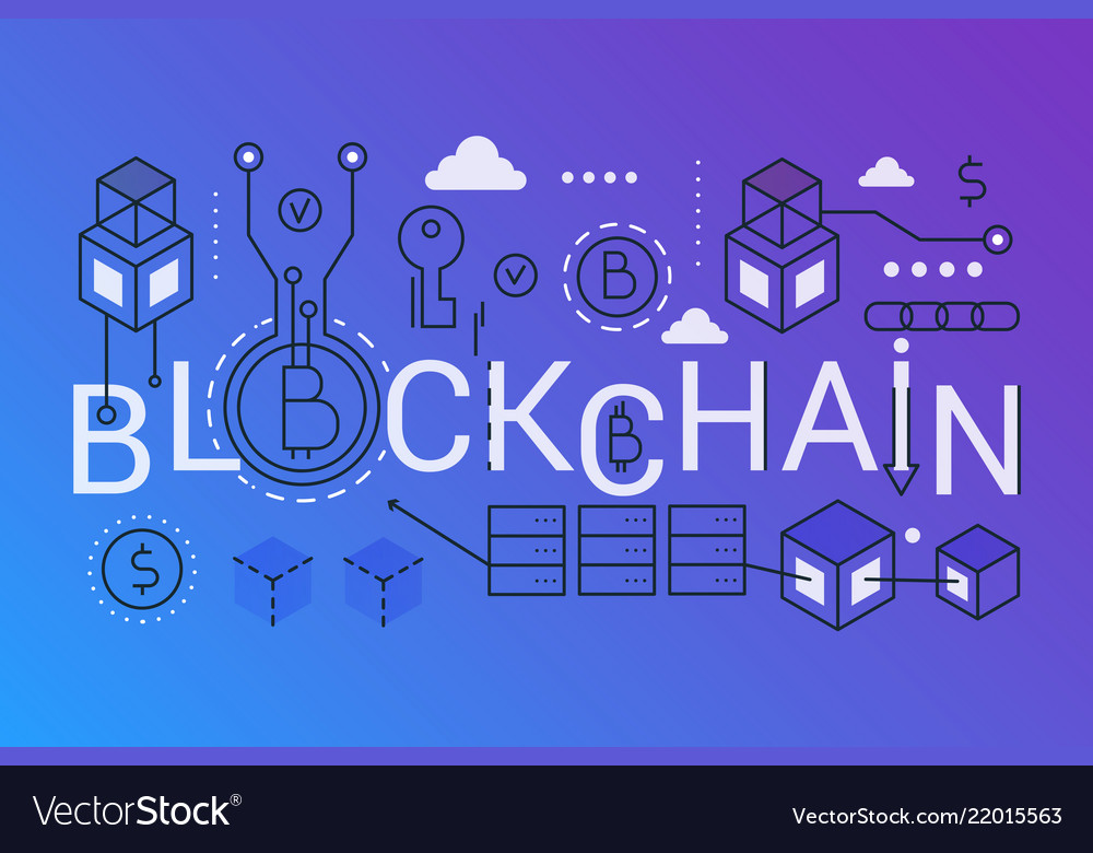 Blockchain 2019 word trendy composition concept vector