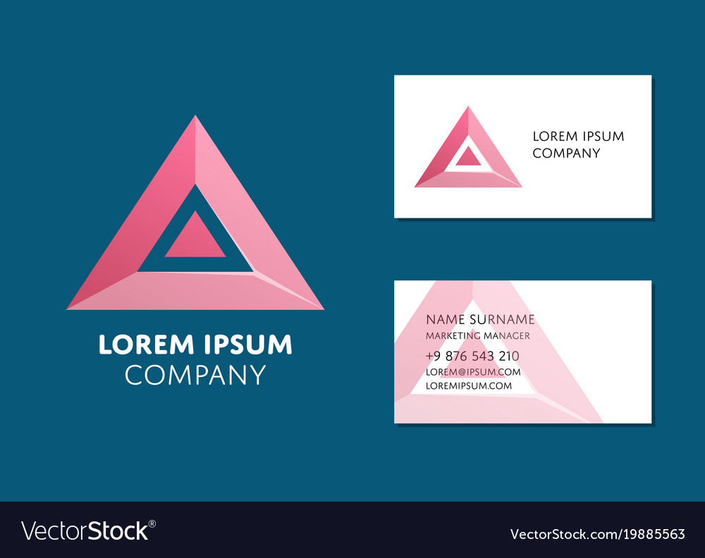 Business card template with red triangle logo vector image wajeb Images