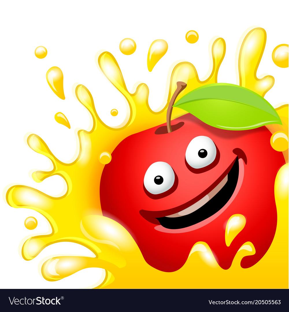 Cartoon character fresh apple juice on