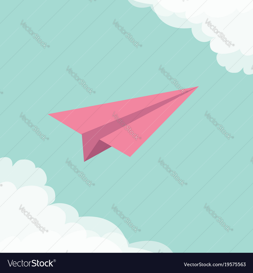 Flying origami paper plane cloud in corners frame