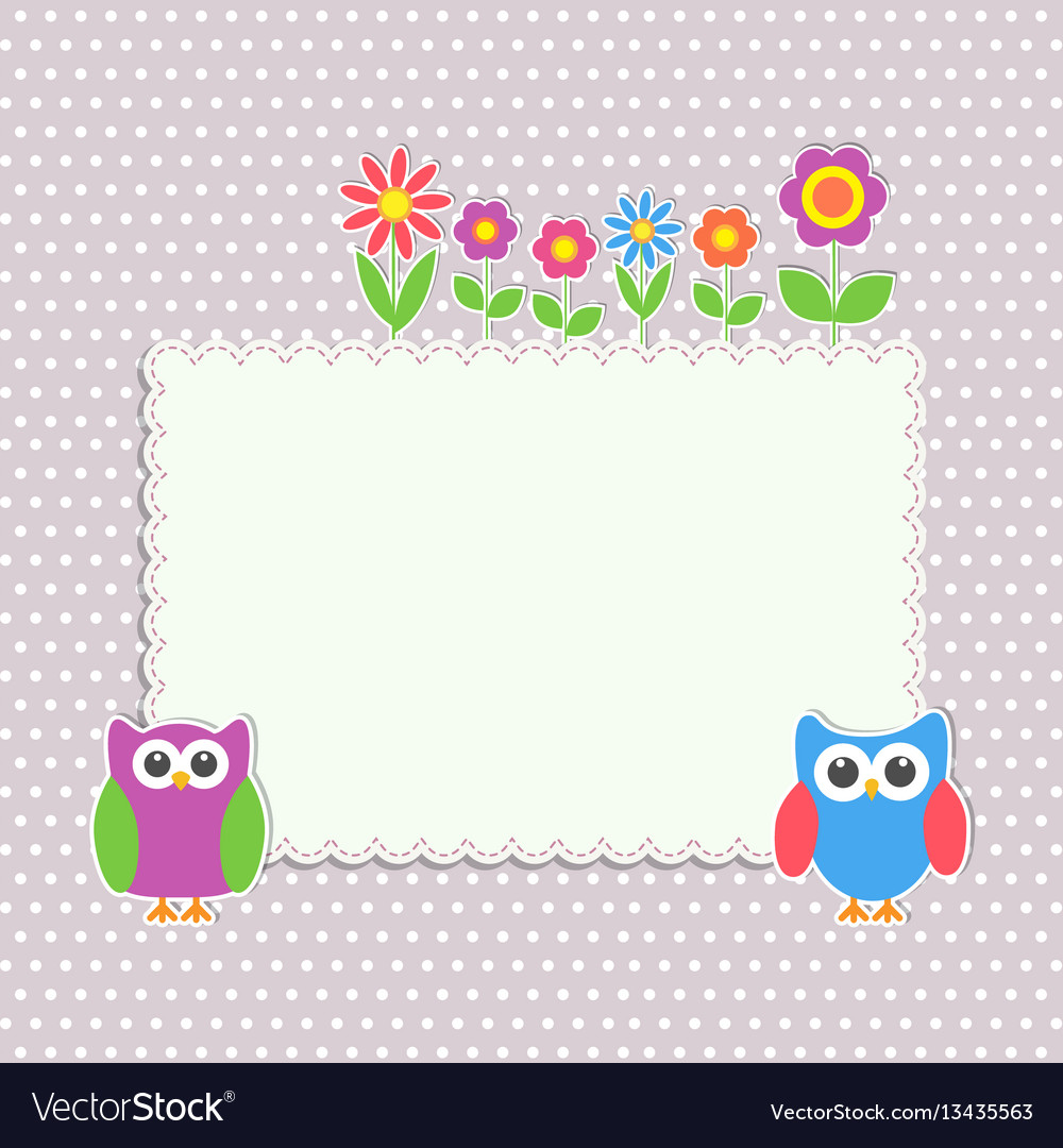 Frame with cute owls and flowers vector image