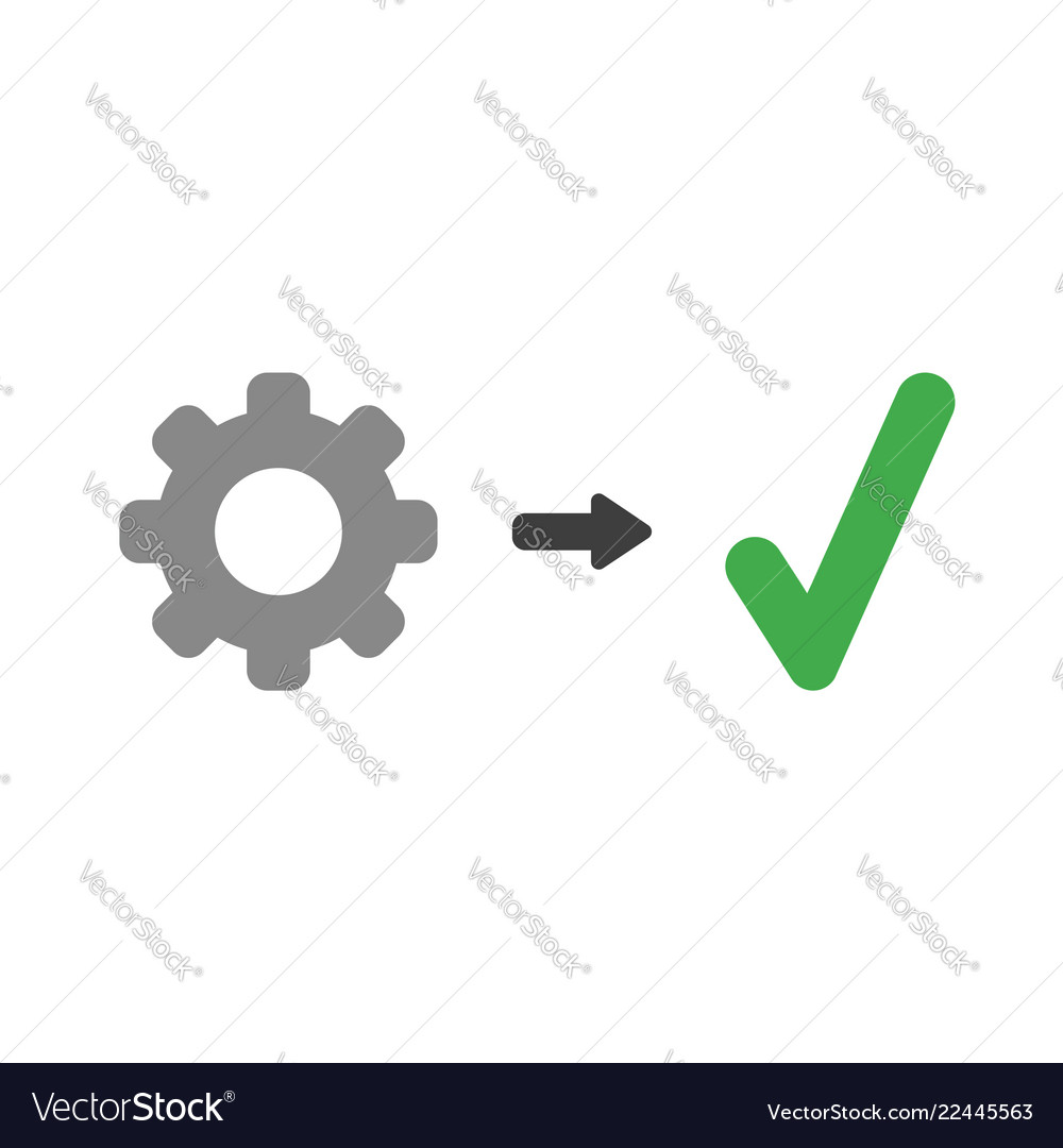 Icon concept of gear with check mark