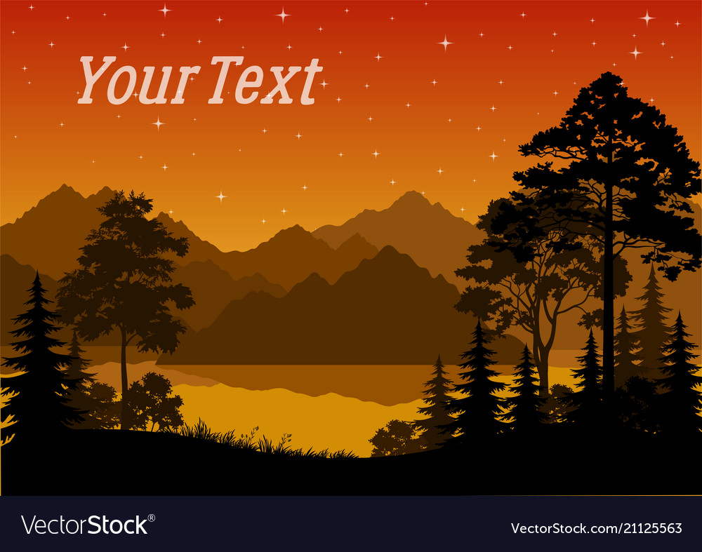 Landscape trees and river vector image