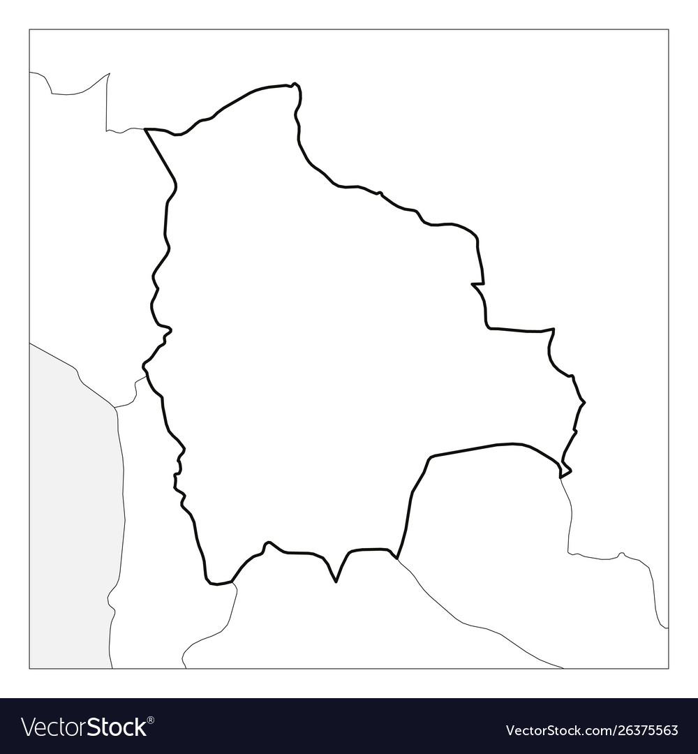 Picture of: Map Bolivia Black Thick Outline Highlighted Vector Image