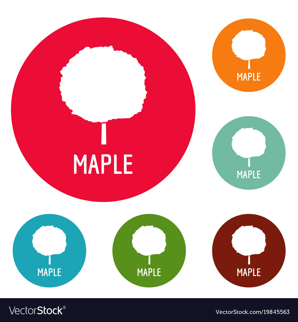 Maple tree icons circle set
