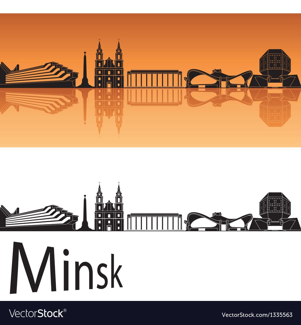 Minsk skyline in orange background vector image