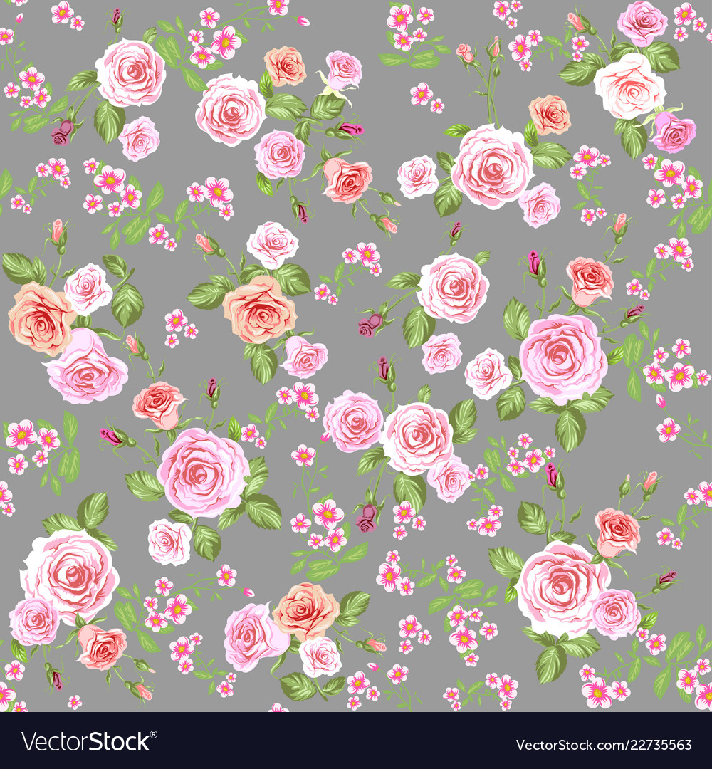Roses seamless pattern gray