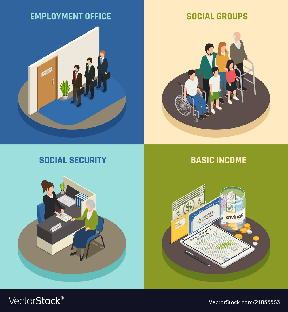 Social security isometric design concept