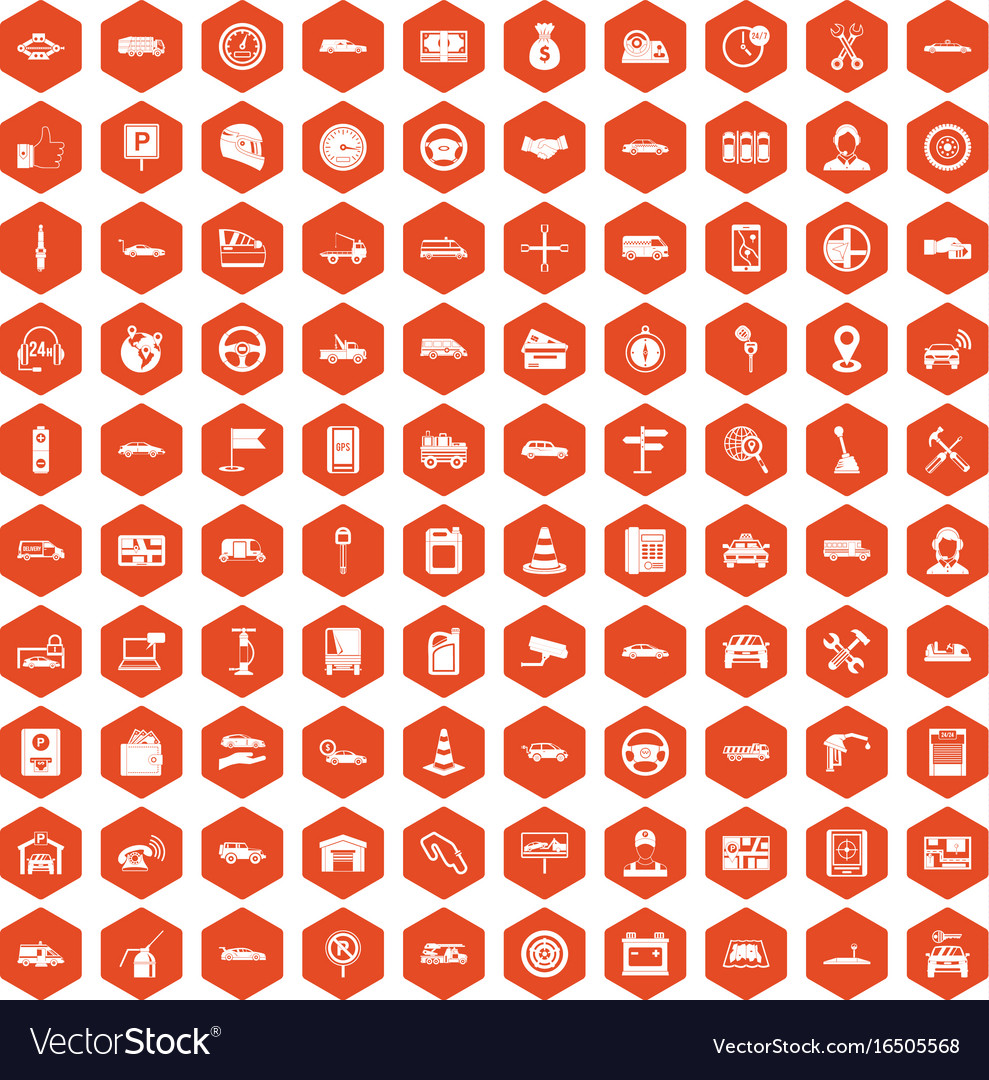 100 auto icons hexagon orange
