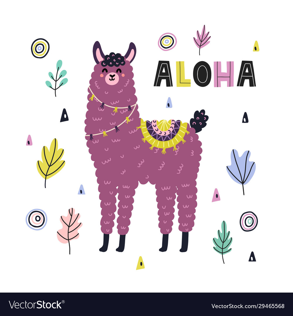 Aloha funny print with a cute llama card