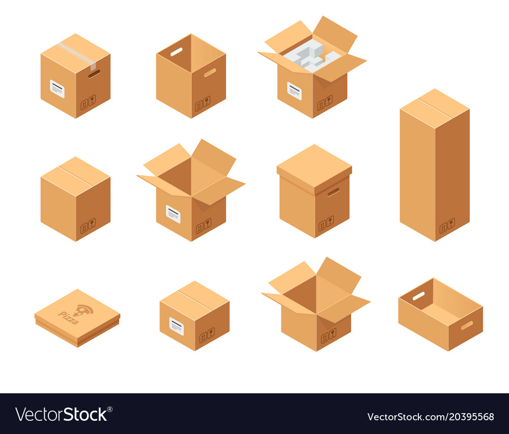 Carton packaging boxes set isometric view vector image