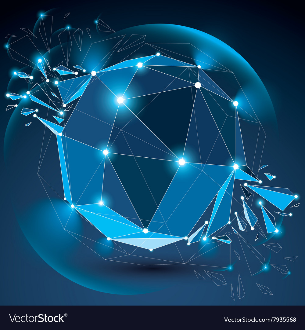 Dimensional wireframe blue object with radiance