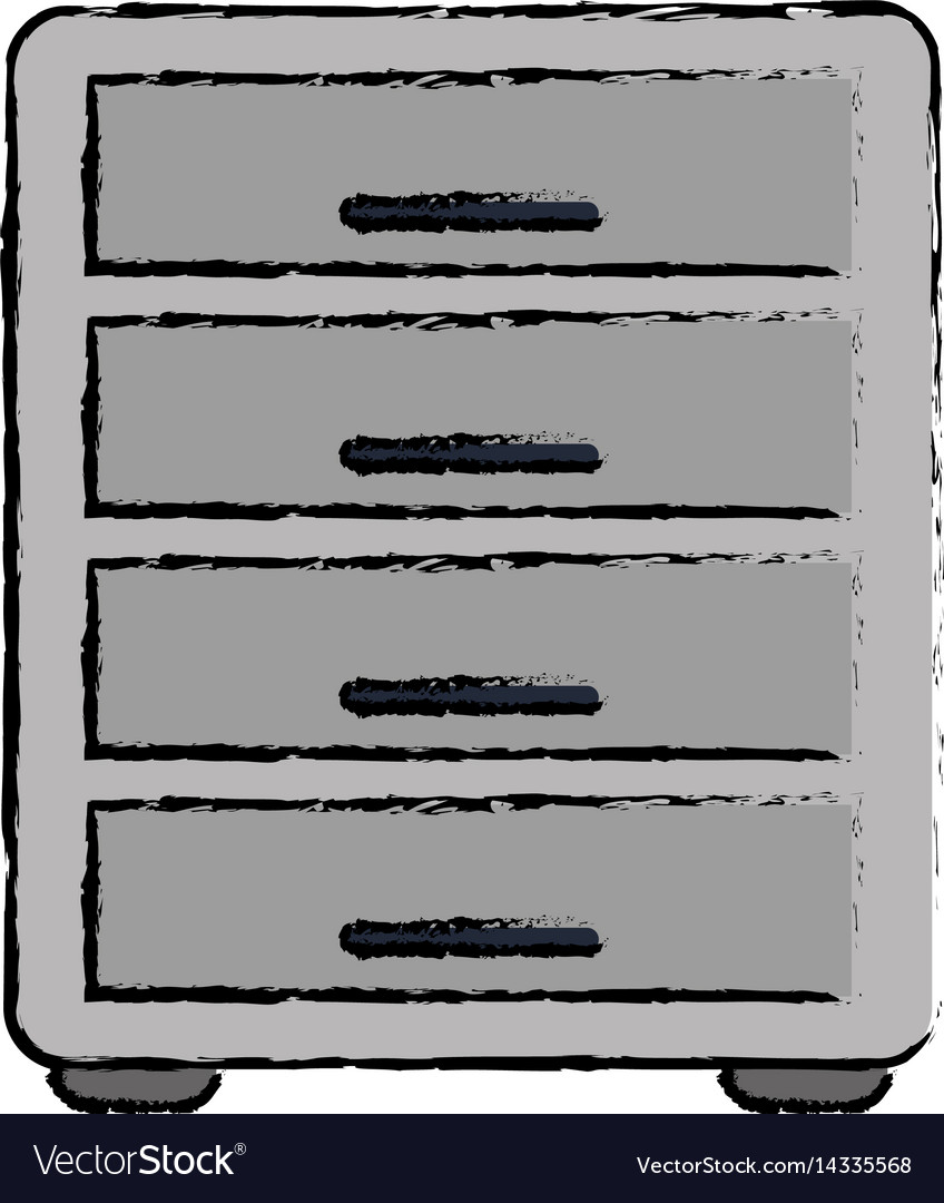 drawing file cabinet archive workplace royalty free vector