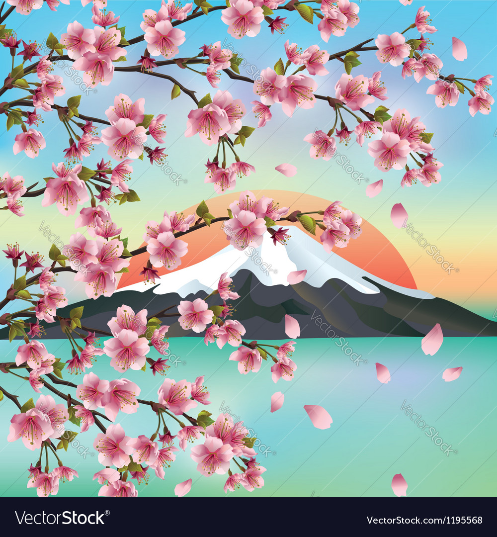 Japanese Background With Japanese Cherry Tree Vector Image