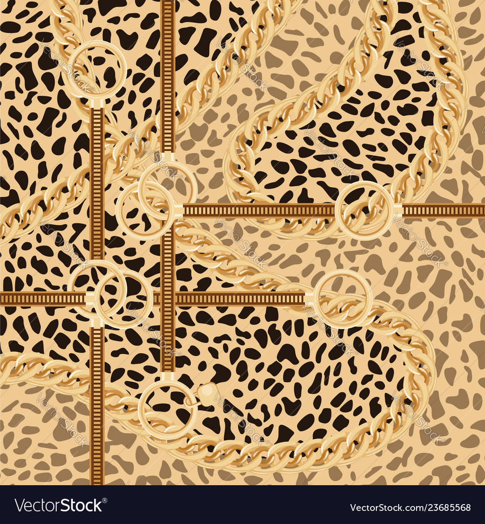 Leopard pattern with golden chain and belts for