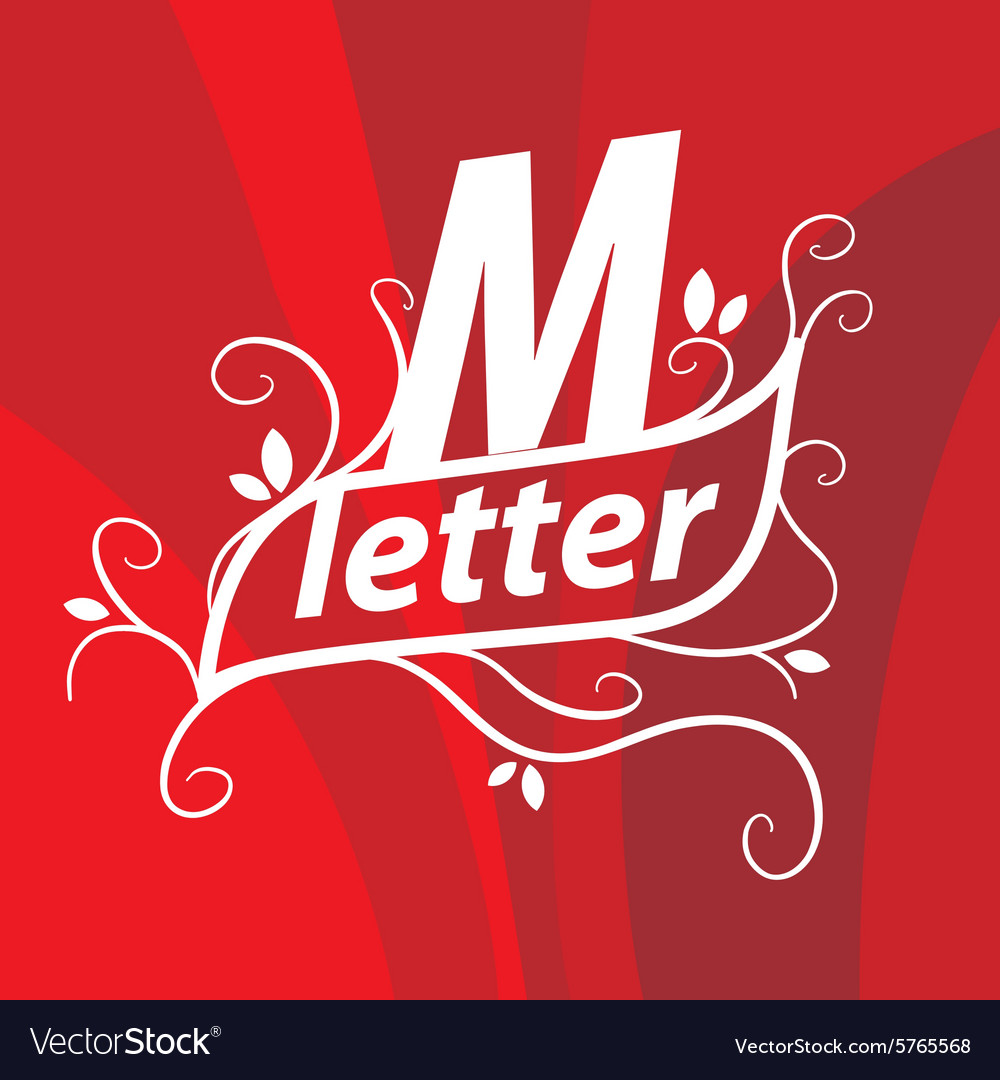 Logo the letter M with floral patterns