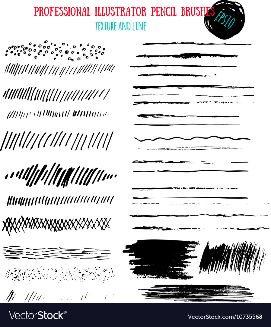 Pencil grunge brushes Abstract hand drawn art ink
