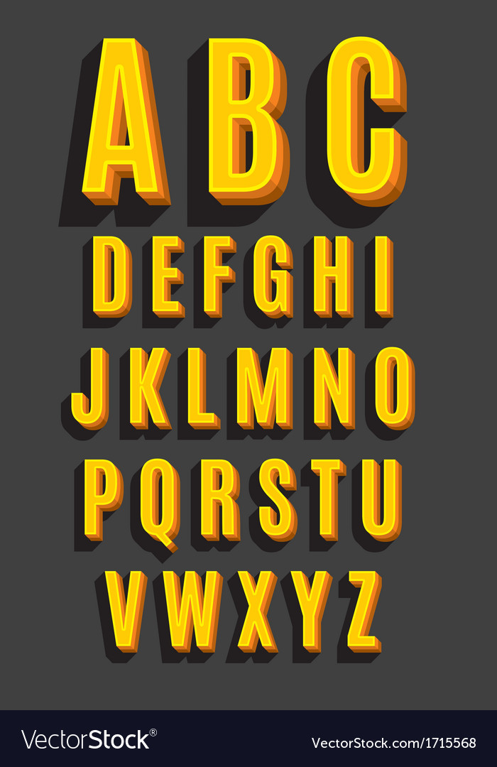 Retro type font vintage alphabet