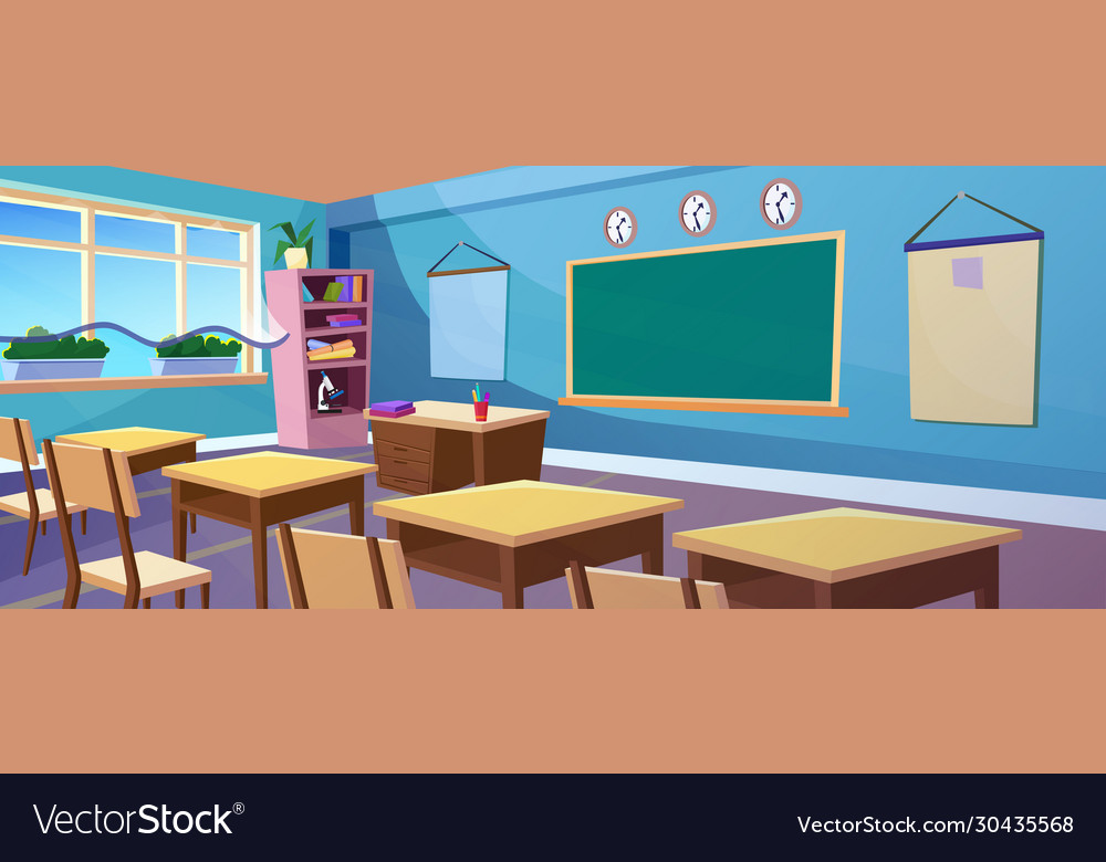 Secondary school classroom interior cartoon