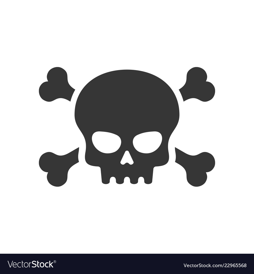 Skull and crossbones icon on white background