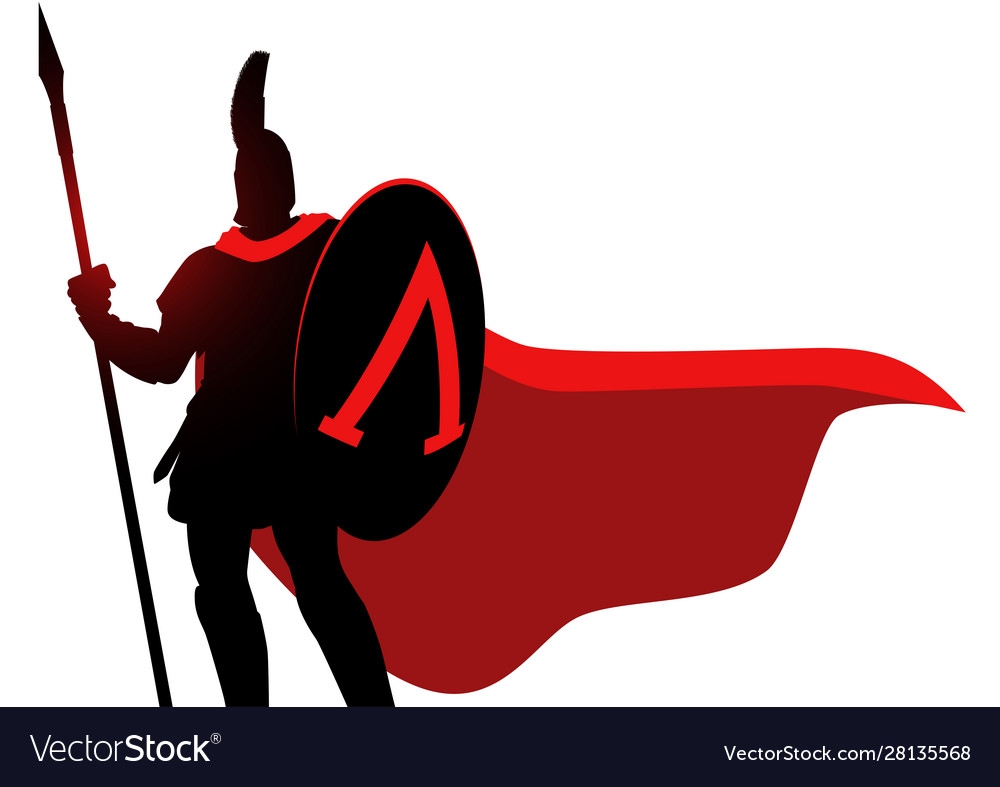 Spartan warrior wearing helmet and red cloak