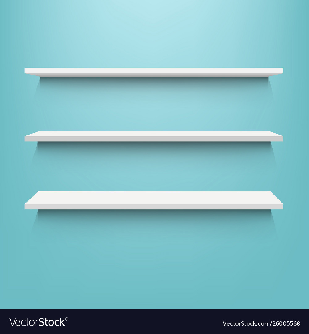 White shelf with mint background