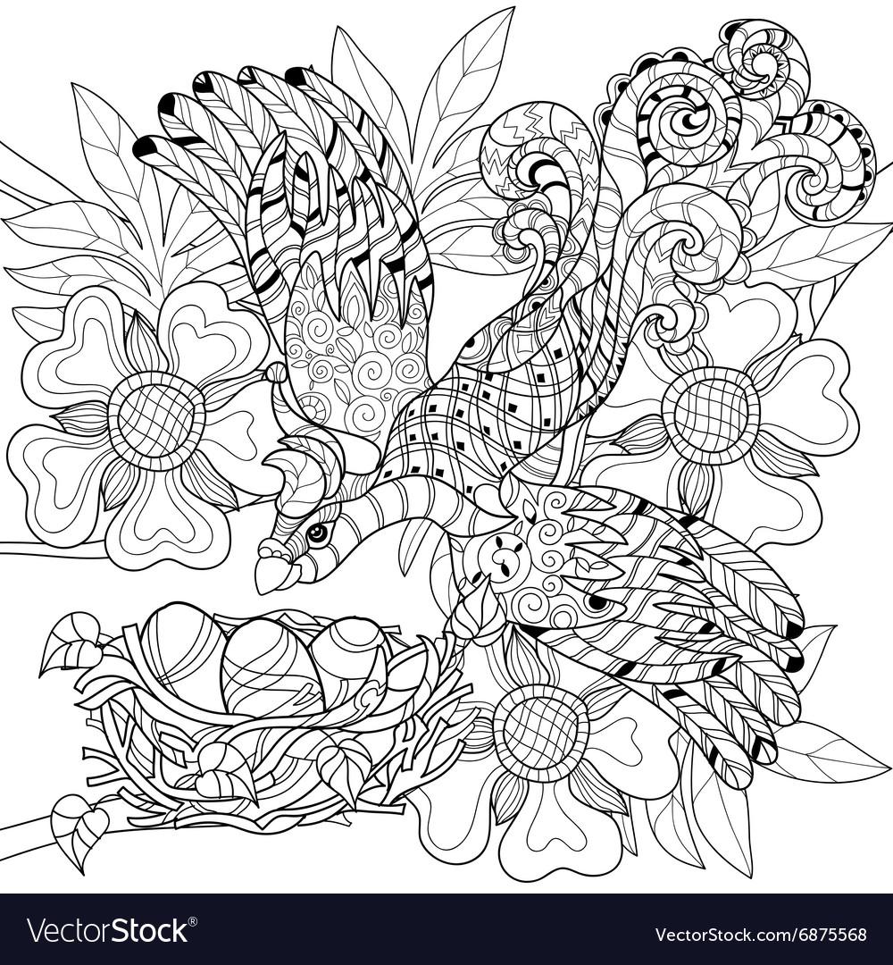 Zentangle sketch bird on nest Hand Drawn doodle