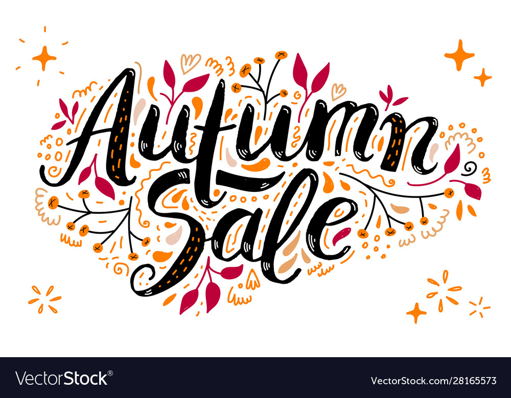 Autumn sale lettering with hand drawn