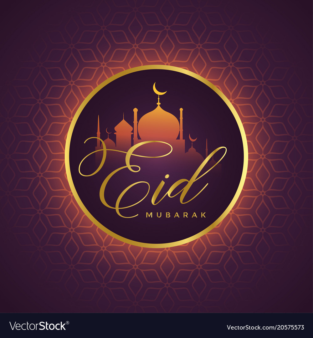 Beautiful eid mubarak card design with mosque vector image m4hsunfo