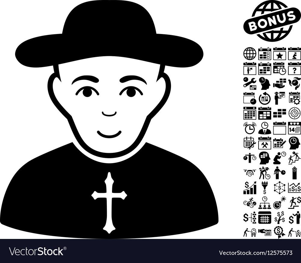 Christian Priest Flat Icon With Bonus