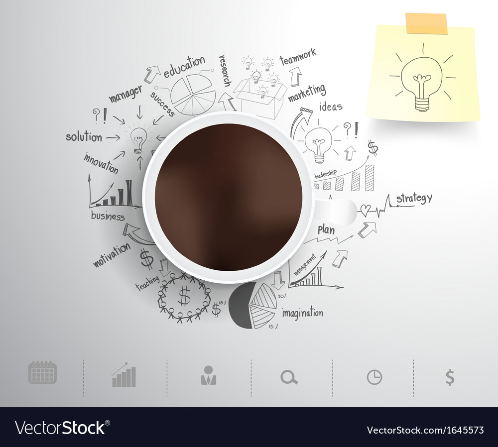 Coffee cup on drawing business strategy