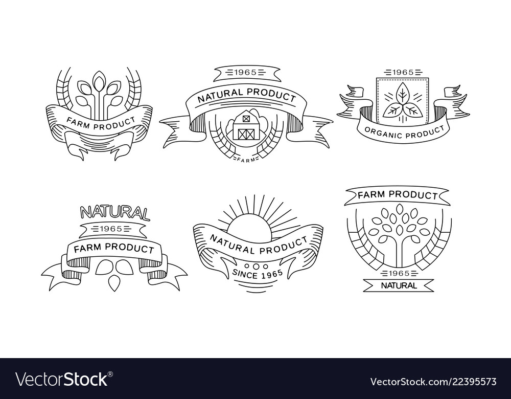 Collection of farm products logos retro labels