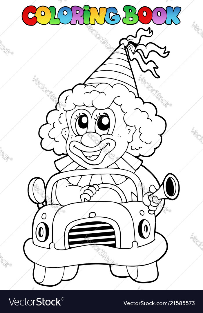 Coloring book with clown in car Royalty Free Vector Image