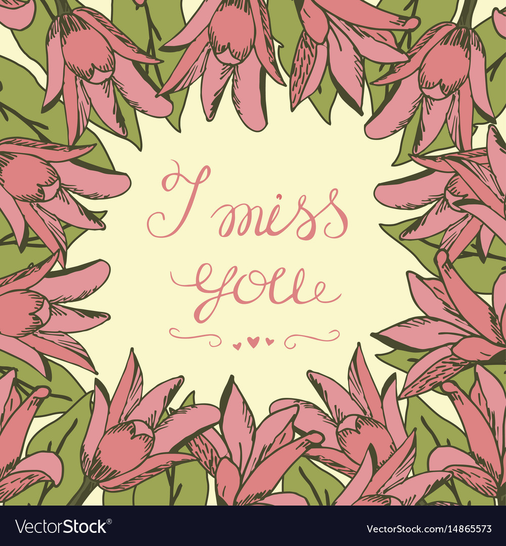 Greeting Card With Lettering I Miss You Royalty Free Vector