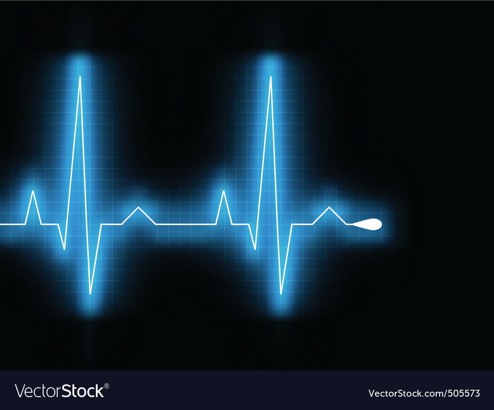 Heartbeat glow on a black monitor eps 8 vector image