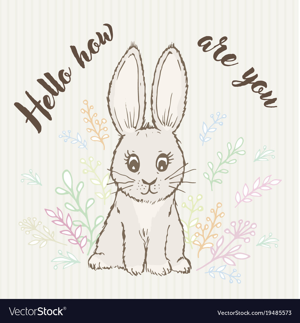 Inscription hello like you and doodle rabbit vector image