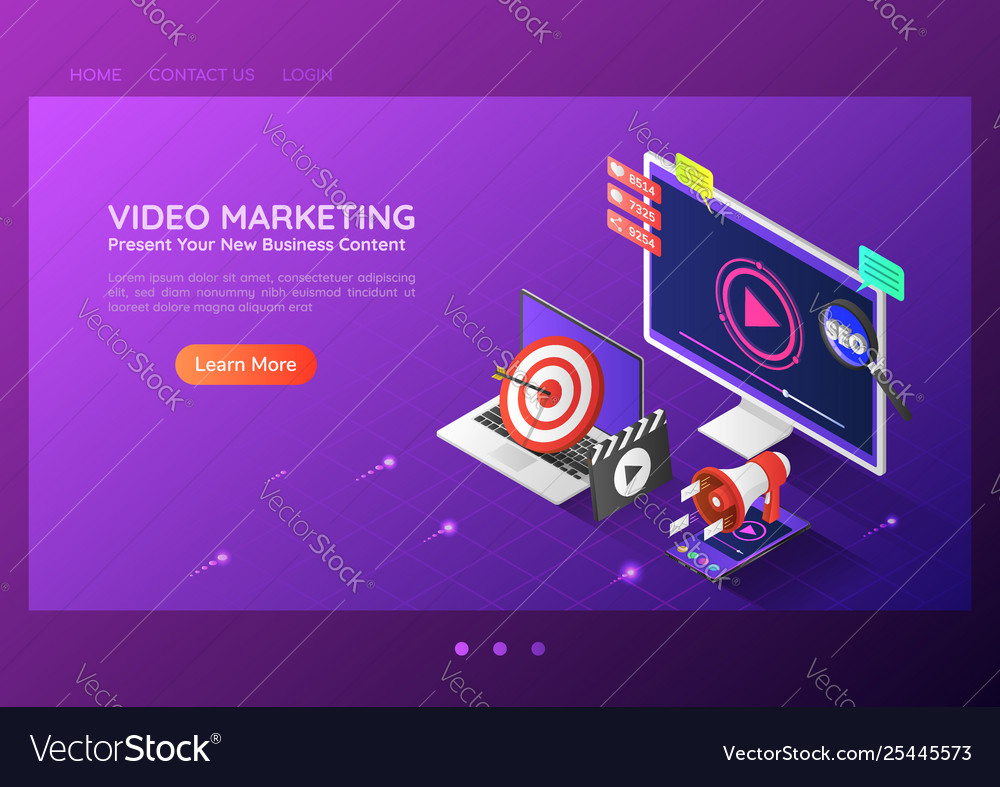 Isometric web banner online video content