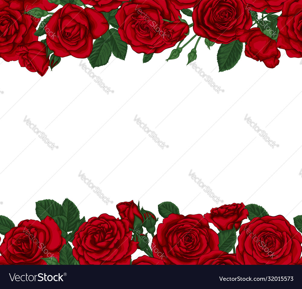 Luxury wedding invitation card with red roses