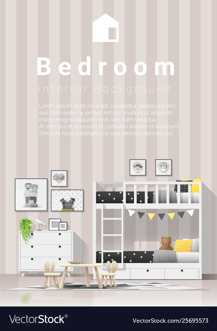 Modern Kids Bedroom With Wooden Bunk Bed Vector Image