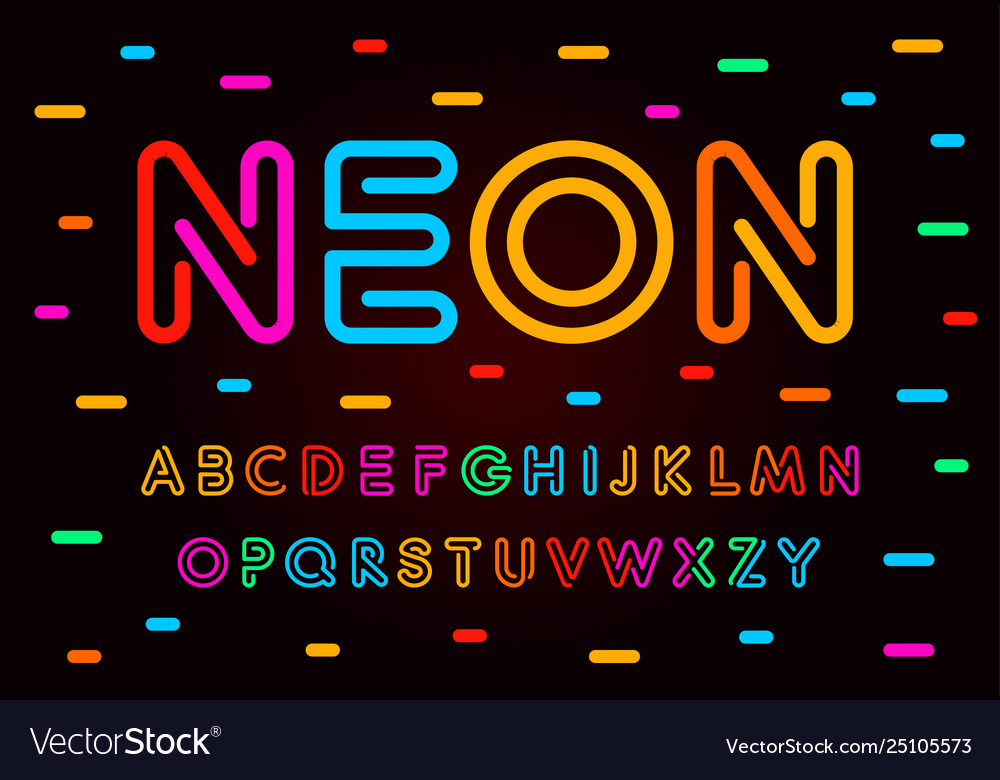 Neon letters numbers and symbols set colored
