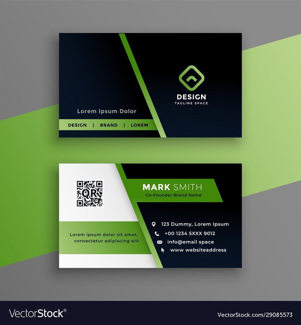 Professional green business card modern template Vector Image