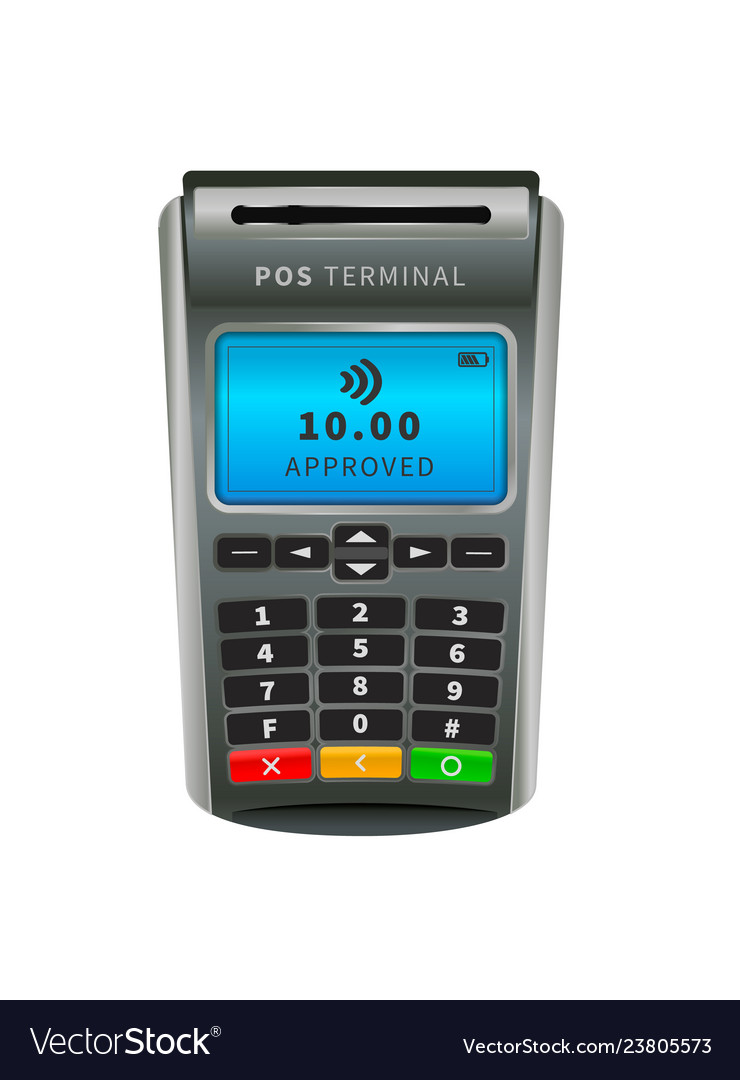 Realistic nfc pos terminal for payment by debit or